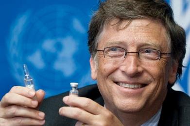 Bill Gates, Co-Chair the Bill & Melinda Gates Foundation shows a vaccine during the press conference. UN Photo / Jean-Marc FerrŽ